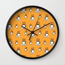 Coffe mug pattern in mustard yellow Wall Clock