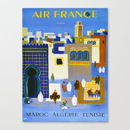 North Africa Tunisia Morocco Algeria Vintage Travel Poster Colorful Mid Century Commercial Advertisement Canvas Print