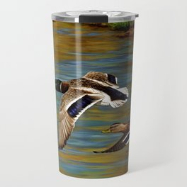 Mallard Ducks in Flight Travel Mug