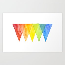 Geometric Watercolor Shapes Triangles Pattern Art Print