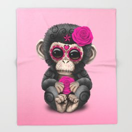 Pink Day of the Dead Sugar Skull Baby Chimp Throw Blanket