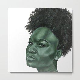 Green elegant monochrome female portrait Metal Print
