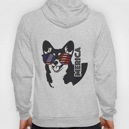 Merica Memorial Day Dog Funny American Flag Hoody