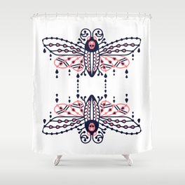 Death's Head Hawkmoth – Blush & Navy Palette Shower Curtain