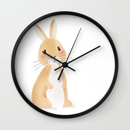 Cute rabbit illustration on white background Wall Clock