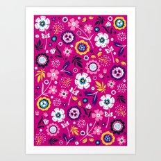 Folk Flowers (Magenta) Art Print