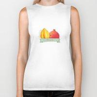 pomegranate Biker Tanks featuring Pomegranate by Cutysun