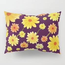 Yellow dots, Yellow Flower, Floral Pattern, Yellow Blossom Pillow Sham