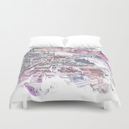 Colorful Budapest - Bird's Eye View Map Duvet Cover