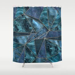 Stained Glass Style Gemstone Marble Blue Green Shower Curtain