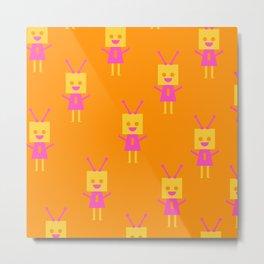 Happiest Little Robot (orange) Metal Print