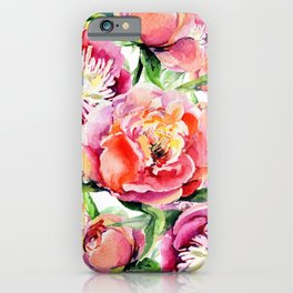 Blush pink orange green hand painted watercolor floral iPhone Case