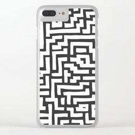 White and Dark Grey Maze Pattern Clear iPhone Case