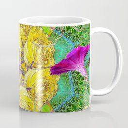MYSTIC YELLOW ROSES MORNING GLORIES GREEN ART Coffee Mug