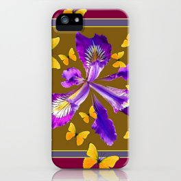 YELLOW & PURPLE BUTTERFLIES PURPLE IRIS BURGUNDY iPhone Case
