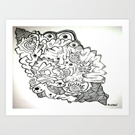 Eyes of the Lady Ink Doodle Art Print