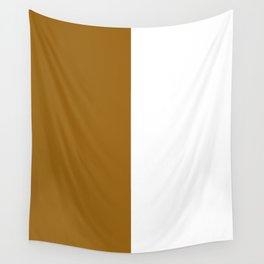 White and Golden Brown Vertical Halves Wall Tapestry