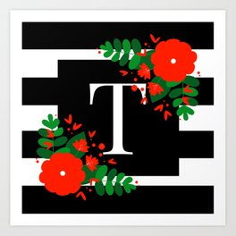T - Monogram Black and White with Red Flowers Art Print