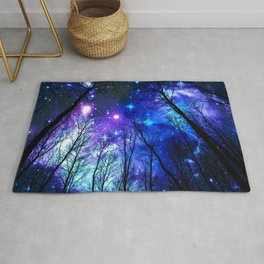 black trees purple blue space copyright protected Rug