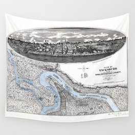 Vicksburg - Fortifications map - Mississippi - 1863 Wall Tapestry