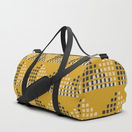 Layered Geometric Block Print in Mustard Duffle Bag