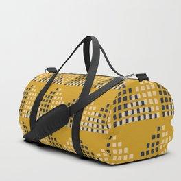 Layered Geometric Block Print in Mustard Duffle Bag