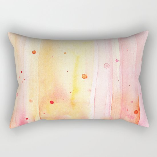 Pink Orange Rain Watercolor Texture Splatters Rectangular Pillow