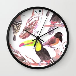 Large birds watercolor toucans, juncos, hoopoe and barn owl Wall Clock
