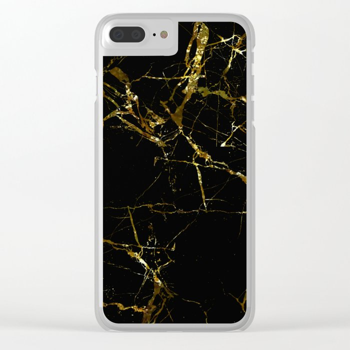 Golden Marble - Black and gold marble pattern, textured design Clear iPhone Case