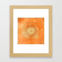 Watercolor Mandala Pattern Orange Framed Art Print