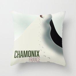 Chamonix france ski travel poster. Throw Pillow