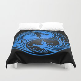 Blue and Black Yin Yang Dragons Duvet Cover