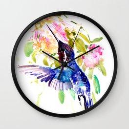 Bee Hummingbird and Soft Pink Flowers Wall Clock