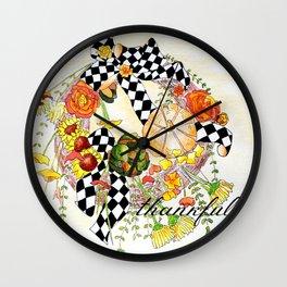 Thankful Wreath Wall Clock