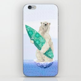 Polar bear & Surf (green) iPhone Skin