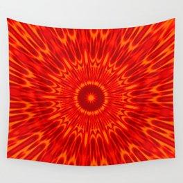 Red Sun Mandala Wall Tapestry