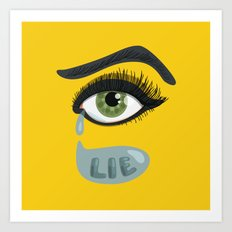 Green Lying Eye With Tears Art Print