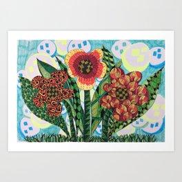 Flower Power Ink and Colour Art Art Print