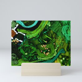 Sewing Notions - Green & Turquoise Mini Art Print