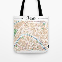 Watercolor map of Paris Tote Bag