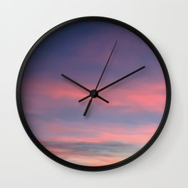 Pink sky in evening Wall Clock