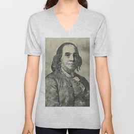 Benjamin Franklin Vintage Watercolor Art Unisex V-Neck