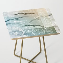 Free Like A Bird Seagull Mixed Media Art Side Table