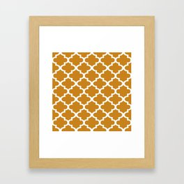 Arabesque Architecture Pattern In Golden Color Framed Art Print