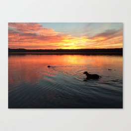 sunset on silver lake Canvas Print