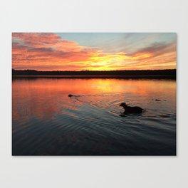 sunset on silver lake Canvas Print