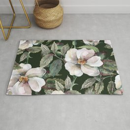 Vintage midnight roses flower garden illustration pattern Rug