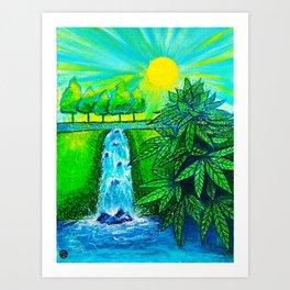 Cannabis by the Waterfall Art Print