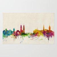 switzerland Area & Throw Rugs featuring Zurich Switzerland Skyline by artPause