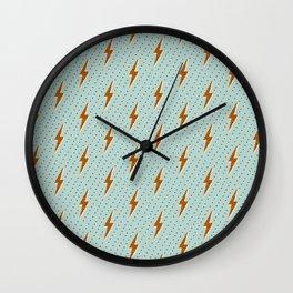 Lightning arrow bolt retro blue Wall Clock